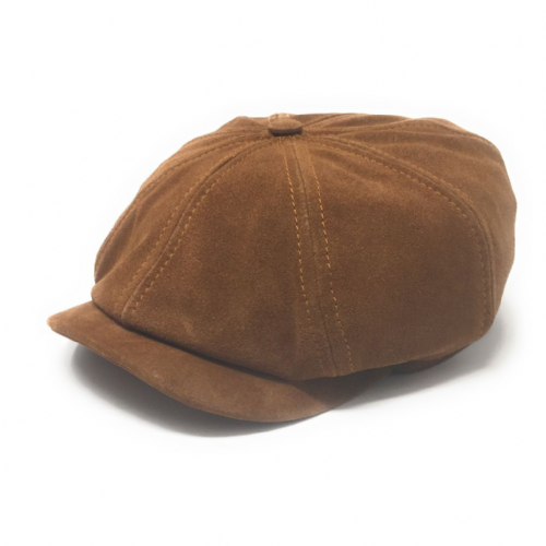 Brown Suede Leather 8 Piece Baker Boy Cap